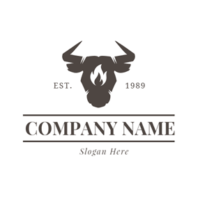 Black Banner and Cow Head logo design