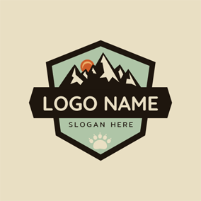 Black Banner and Mountain logo design