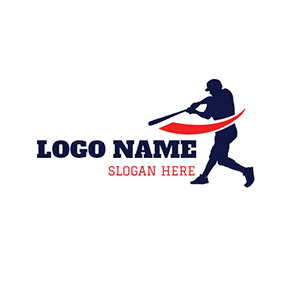 Black Baseball Bat and Baseball Player logo design