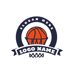 Black Basket and Red Basketball logo design