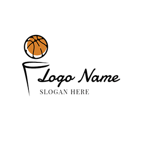 Black Basket and Yellow Basketball logo design