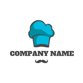 Black Beard and Blue Chef Hat logo design