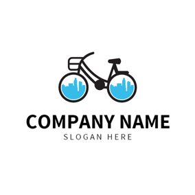 Black Bicycle and Cycling logo design