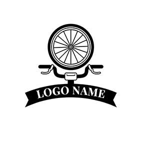 Black Bicycle Head and Bike Wheel logo design