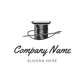 Black Bobbin and Needle logo design