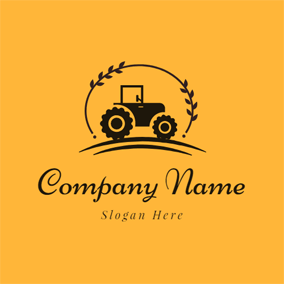 Black Branch and Tractor Icon logo design