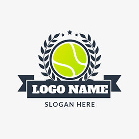 Black Branch and Yellow Tennis Ball logo design