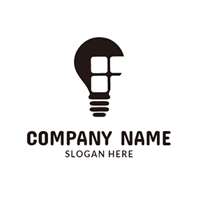 Black Bulb and White Window logo design