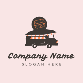 Black Car and Orange Burger logo design