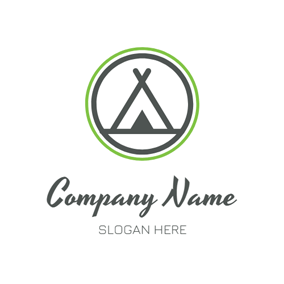 Black Circle and Abstract Tent logo design