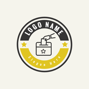 Black Circle and Beige Voting Box logo design