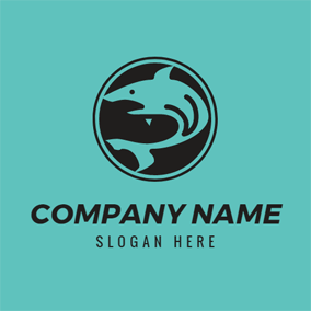 Black Circle and Blue Shark logo design
