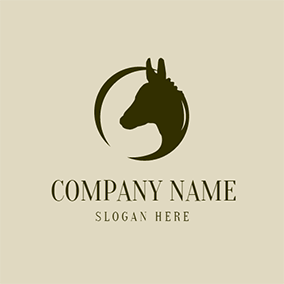 Black Circle and Donkey Head logo design