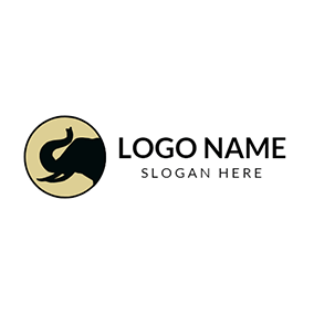 Black Circle and Elephant Head logo design