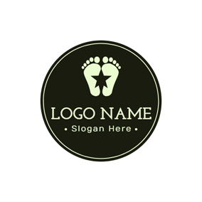 Black Circle and Flat Footprint logo design