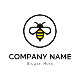 Black Circle and Fly Bee logo design