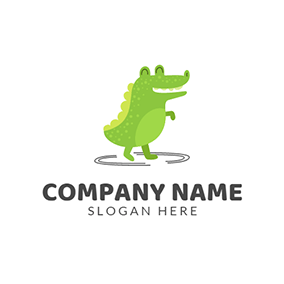 Black Circle and Green Crocodile logo design