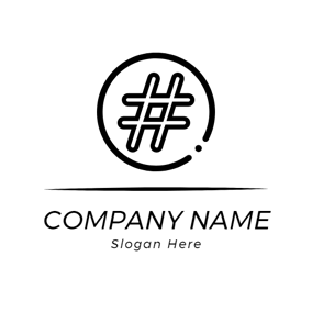 Black Circle and Hashtag logo design