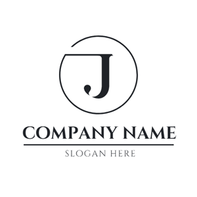Black Circle and Letter J logo design