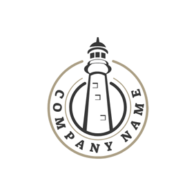Black Circle and Lighthouse logo design