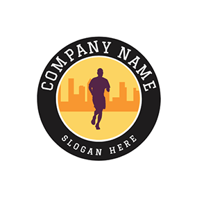 Black Circle and Marathon Runner logo design