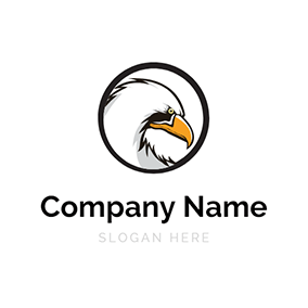 Black Circle and Osprey Head logo design