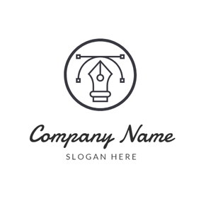 Black Circle and Pen Point logo design