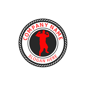 Black Circle and Red Rap Singer logo design