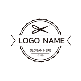 Black Circle and Scissor logo design