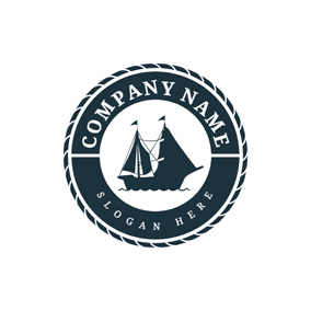 Black Circle and Steamship logo design