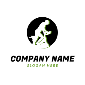 Black Circle and White Bodybuilding Fanatic logo design