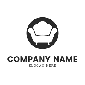 Black Circle and White Sofa logo design