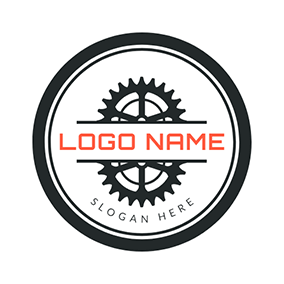 Black Circle and White Wheel Gear logo design