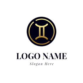 Black Circle and Yellow Gemini logo design