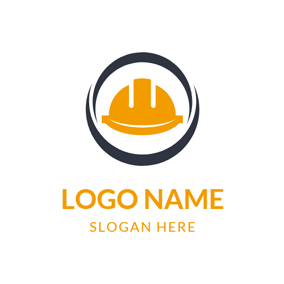 Black Circle and Yellow Safety Helmet logo design