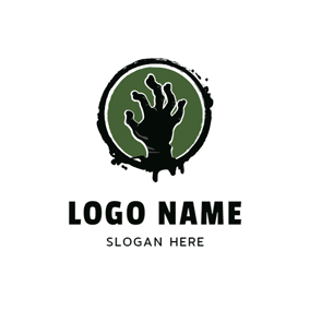 Black Circle and Zombie Hand logo design