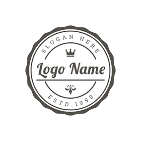 Black Circle With Lace and White Postmark logo design