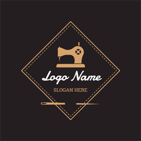 Black Cloth and Sewing Machine logo design