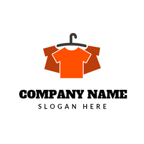 Black Coat Hanger And Orange T Shirt Logo Design