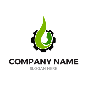 Black Cog and Green Oil Drop logo design