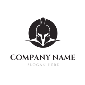Black Color Circle and Cool Warrior logo design