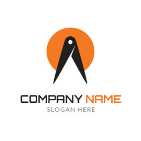 Black Compasses and Orange Circle logo design