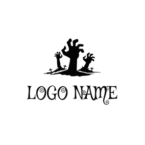 Black Cross and Zombie Hand logo design