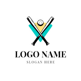 Black Cross Baseball Bat and Ball logo design