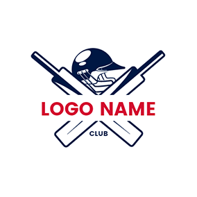 Black Cross Cricket Bat and Hat logo design