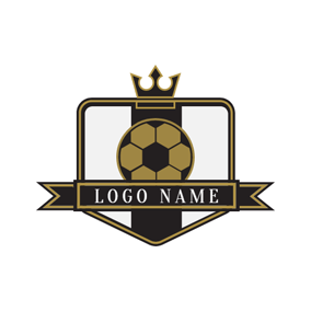 Black Crown and Golden Soccer logo design