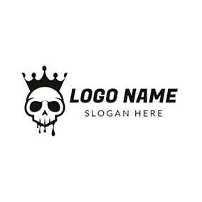 Black Crown and Skull Icon logo design