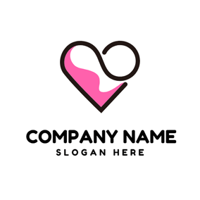 Black Curve and Pink Heart logo design