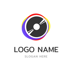 Black Disc and Edm logo design