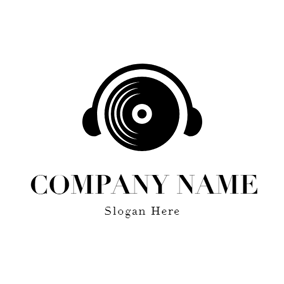 Black Disc and Headphone logo design